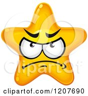 Cartoon Of A Mad Yellow Star Royalty Free Vector Clipart