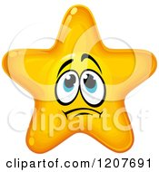 Cartoon Of A Nervous Yellow Star 2 Royalty Free Vector Clipart