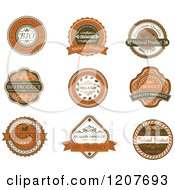 Clipart Of Brown Quality And Organic Labels Royalty Free Vector Illustration