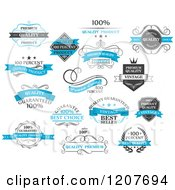 Clipart Of Blue Black And White Quality Product Labels Royalty Free Vector Illustration