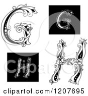 Clipart Of A Vintage Floral Letter G And H Royalty Free Vector Illustration