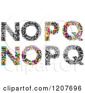Clipart Of Colorful N O P And Q Made Of Tiny Letters Royalty Free Vector Illustration