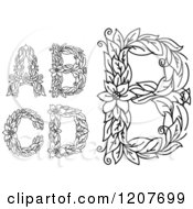 Clipart Of A Black And White Floral Letters A B C And D Royalty Free Vector Illustration