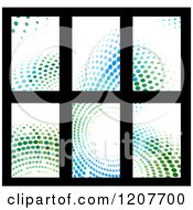 Clipart Of Green And Blue Halftone Business Card Designs On Black 2 Royalty Free Vector Illustration by Vector Tradition SM