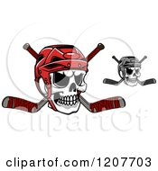 Poster, Art Print Of Colored And Grayscale Skulls With Hockey Helmets And Crossed Sticks