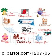 Clipart Of Christmas Icons And Greetings Royalty Free Vector Illustration
