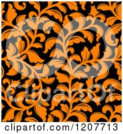 Clipart Of A Seamless Orange And Black Floral Pattern Royalty Free Vector Illustration