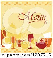 Clipart Of A Menu Cover With Dishes Over Yellow Royalty Free Vector Illustration