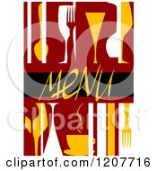 Clipart Of A Menu Cover With Abstract Dishes Royalty Free Vector Illustration