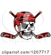 Clipart Of A Skull With A Hockey Helmet And Crossed Sticks Royalty Free Vector Illustration by Vector Tradition SM