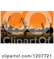 Silhouetted Working Cranes Unloading Cargo In A Seaport At Sunset