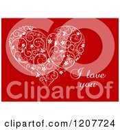 Clipart Of A White Floral Heart And I Love You Text Royalty Free Vector Illustration