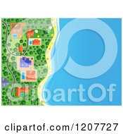 Clipart Of An Aerial Map Of Buildings On The Beach Royalty Free Vector Illustration