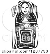 Clipart Of A Girl Peeking Out Of A Russian Nesting Doll Black And White Woodcut Royalty Free Vector Illustration by xunantunich