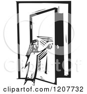 Girl Opening A Door Black And White Woodcut