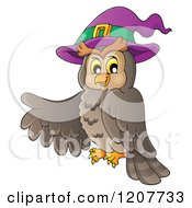 Cartoon Of A Halloween Owl Wearing A Witch Hat And Pointing Royalty Free Vector Clipart