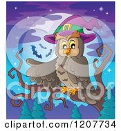 Cartoon Of A Halloween Owl Wearing A Witch Hat And Pointing Against A Full Moon Royalty Free Vector Clipart by visekart