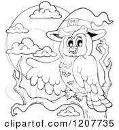Cartoon Of An Outlined Halloween Owl Wearing A Witch Hat And Pointing Royalty Free Vector Clipart by visekart