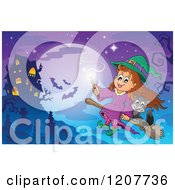 Cartoon Of A Cute Halloween Witch Girl And Black Cat Flying Near A Haunted House Against A Full Moon Royalty Free Vector Clipart