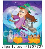 Cartoon Of A Cute Halloween Witch Girl And Black Cat Flying On A Broomstick Over A Cemetery Pumpkins And Bat Royalty Free Vector Clipart