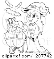 Cartoon Of An Outlined Cute Halloween Witch Girl Pushing A Cat And Pumpkins In A Wheelbarrow Royalty Free Vector Clipart