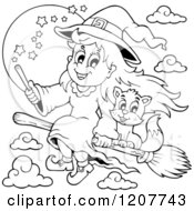 Cartoon Of An Outlined Cute Halloween Witch Girl And Cat Flying On A Broomstick Royalty Free Vector Clipart