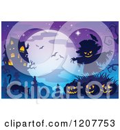Cartoon Of A Haunted House Against A Full Moon With Bats Over Jackolanterns A Scarecrow And A Cat In A Cemetery Royalty Free Vector Clipart by visekart