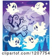 Cartoon Of Halloween Ghosts Flying Against A Bare Tree And Full Moon Royalty Free Vector Clipart