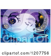 Cartoon Of A Haunted House Against A Full Moon With Bats A Cat And Jackolanterns Over A Cemetery Royalty Free Vector Clipart by visekart