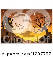 Cartoon Of A Haunted House Against A Full Moon With Bats And A Bare Tree Over A Cemetery Royalty Free Vector Clipart