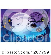 Cartoon Of A Haunted House Against A Full Moon With Bats Over Jackolanterns And A Cat In A Cemetery Royalty Free Vector Clipart