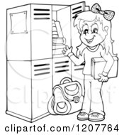 Cartoon Of An Outlined Happy Blond School Girl At Her Locker Royalty Free Vector Clipart by visekart
