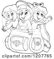 Cartoon Of Outlined Happy School Children In A Big Backpack Royalty Free Vector Clipart