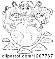 Cartoon Of Outlined Happy Diverse Children Over A Globe And Clouds Royalty Free Vector Clipart