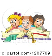 Cartoon Of Happy School Children On A Giant Book Royalty Free Vector Clipart