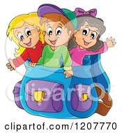 Cartoon Of Happy School Children In A Big Backpack Royalty Free Vector Clipart by visekart
