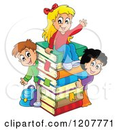 Cartoon Of Happy School Children With A Stack Of Books Royalty Free Vector Clipart by visekart