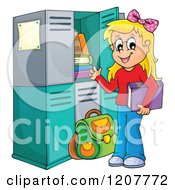 Cartoon Of A Happy Blond School Girl At Her Locker Royalty Free Vector Clipart
