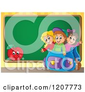 Cartoon Of Happy School Children In A Big Backpack And An Apple Over A Chalkboard Royalty Free Vector Clipart by visekart