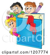 Cartoon Of Happy School Children With A Giant Blue Book Royalty Free Vector Clipart by visekart