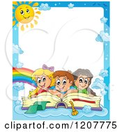 Cartoon Of Border Of Happy School Children On A Giant Book And Blue Sky With A Sun Royalty Free Vector Clipart by visekart