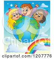 Cartoon Of A Happy Diverse Children Over A Globe And Rainbow Royalty Free Vector Clipart