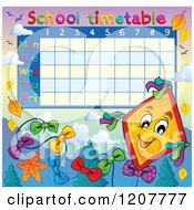 Cartoon Of A School Time Table Of A Kite And Leaves Royalty Free Vector Clipart by visekart