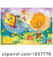 Cartoon Of A Happy Kite Over An Autumn Path Royalty Free Vector Clipart by visekart
