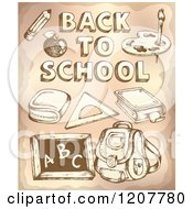 Cartoon Of Sketched Back To School Text And Supplies Royalty Free Vector Clipart