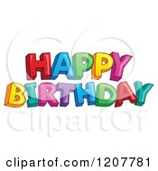 Cartoon Of A Colorful Happy Birthday Greeting Royalty Free Vector Clipart by visekart