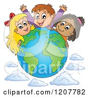 Cartoon Of A Happy Diverse Children Over A Globe And Clouds Royalty Free Vector Clipart