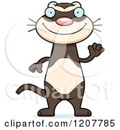 Cartoon Of A Waving Skinny Ferret Royalty Free Vector Clipart by Cory Thoman