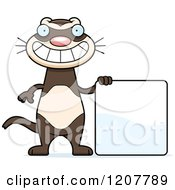 Cartoon Of A Grinning Skinny Ferret With A Sign Royalty Free Vector Clipart by Cory Thoman