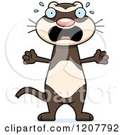 Cartoon Of A Screaming Skinny Ferret Royalty Free Vector Clipart by Cory Thoman